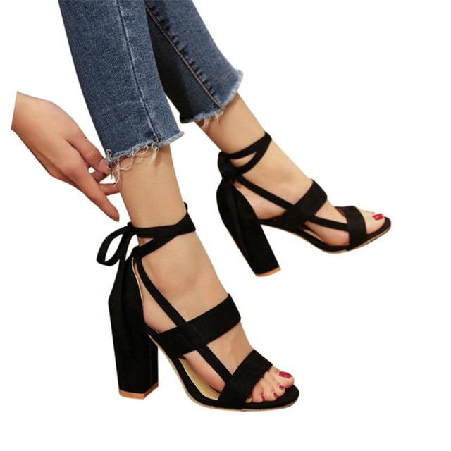 c6f186b056b 2018 Summer Fashion Women Ladies Sandals Ankle High Heels Block Party  sandalia Open Toe Shoes Soft zapatos de mujer ladies shoes
