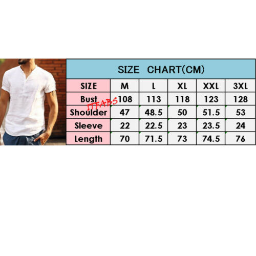 UK Men's Linen Short Sleeve Summer Solid Shirts Casual Loose Dress Soft Tops Tee 6