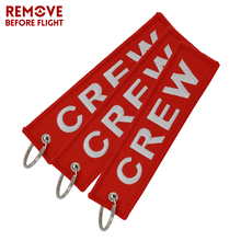 Fashion 3PCS/LOT Crew Key Ring Red Embroidery Keychain Pop llaveros Safety Label Chain for Motorcycle Tag Holder Jewlry