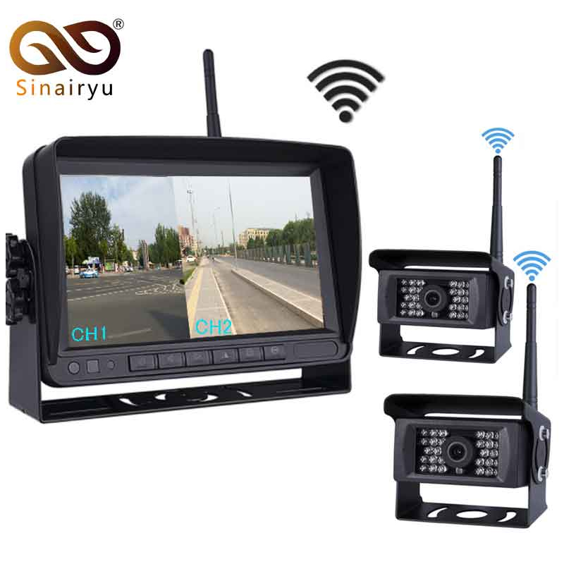 Digital Wireless Parking Reverse System Receiver 7 inch Backup Camera and Rearview Mirror Monitor Kit Rear Camera For BUS Truck