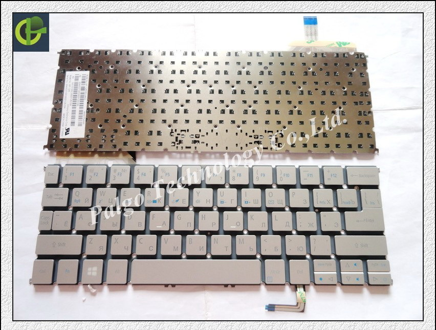 5pc/lot Russian keyboard for Acer Aspire ACER S7 S7-191 S7-192 S7-391 S7-392 RU Silver laptop keyboard laptop keyboard for acer silver without frame bulgaria bu v 121646ck2 bg aezqs100110