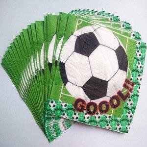 Image 4 - Décoration en papier pour fête prénatale, 81 pièces, gobelets, assiettes, pailles, serviettes de table, banderoles, gobelets pour enfants, football et fête prénatale
