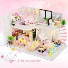 Puppenhaus Miniatur DIY Puppenhaus Mit Möbel Holz Haus Warten Zeit Kaffee Haus Spielzeug Für Kinder GRILS Geburtstag M035