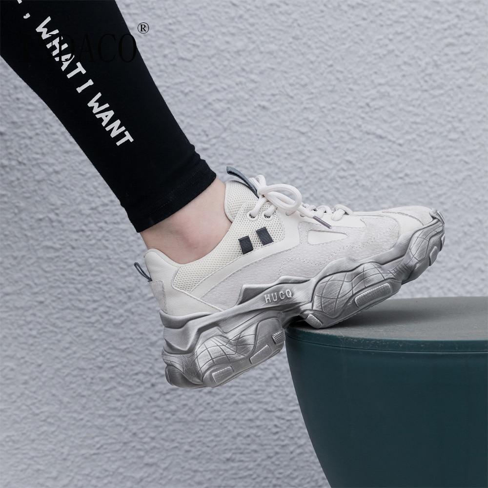 Sneakers Femmes En Cuir Véritable Dentelle Jusqu'à la Plate-Forme 2019 Nouvelles Chaussures Femme Sneakers 5.5 cm
