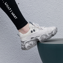 Sneakers Women Genuine Leather Lace Up Platform 2019 New Shoes Woman 5.5cm
