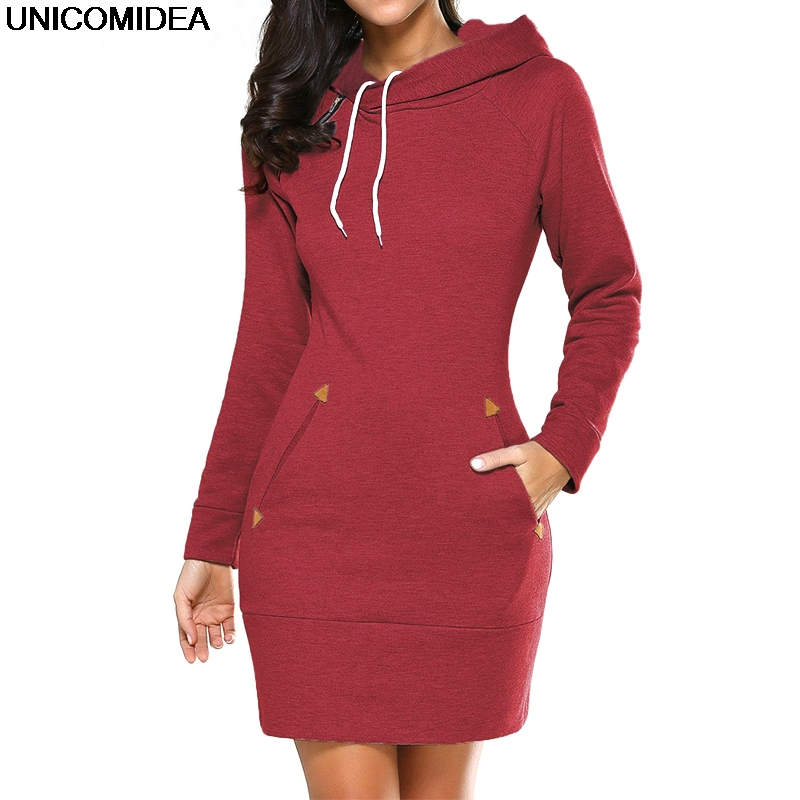 Women Long Sleeve Hoodie Dress Autumn Winter Pocket Hoodies Sweatshirt Pullover Casual Solid Mini Hoodies Dress Tracksuits Tops