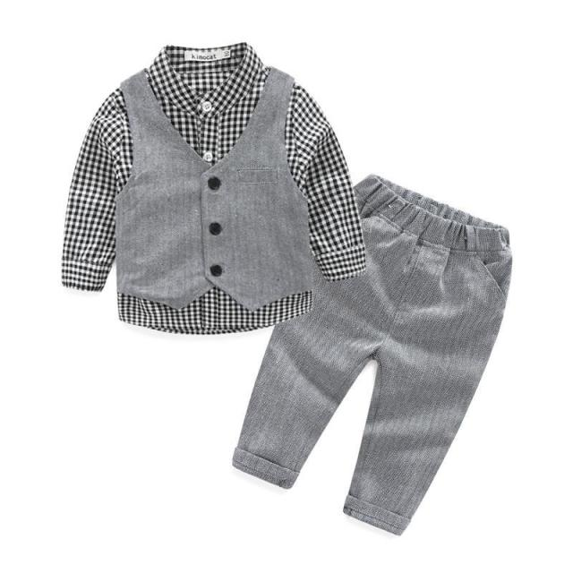 2017 New Fashion Baby Boy Clothes 3pcs/set Gentleman Party and Wedding Boy Clothing Set Long Sleeve Newborn Baby Suits