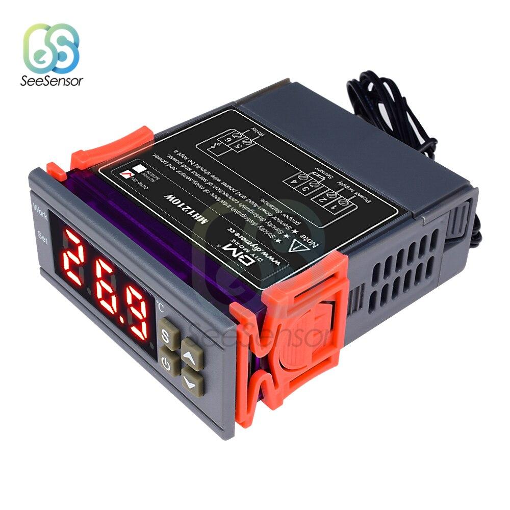 Mh1210w 12 v 24 v 110 v 220 v controlador de temperatura digital termostato regulador de calor controle fresco-50 sensor 110 celsius ntc sensor