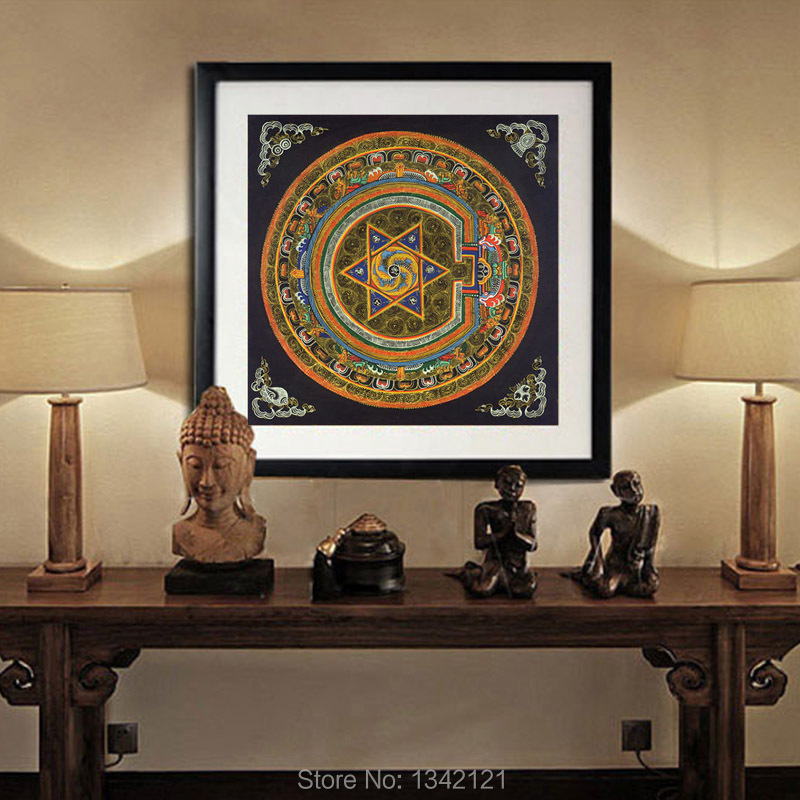 Nepal Buddhist Shrine Mandala Faith Buddha Oil Canvas Art Painting Wall  Tibet Thangka Art Painting Printed
