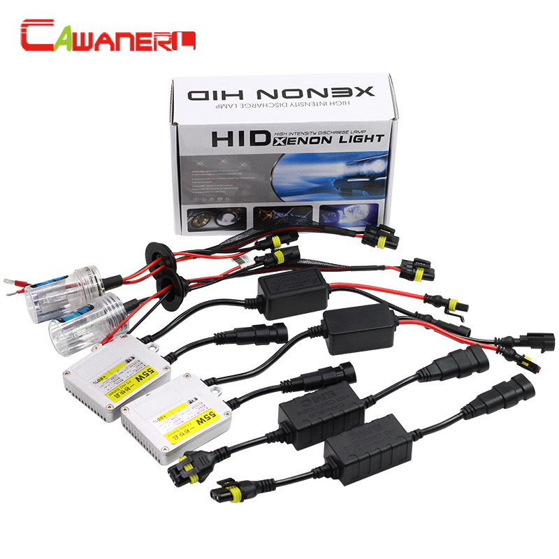 Cawanerl 55W 880 881 H27 HID Xenon Kit 3000K-12000K AC Ballast Bulb No Error Harness Adapter Anti Flicker Car Light Headlight buildreamen2 55w 880 881 car light hid xenon kit 3000k 8000k anti flicker no error ac ballast bulb canbus adapter auto headlight