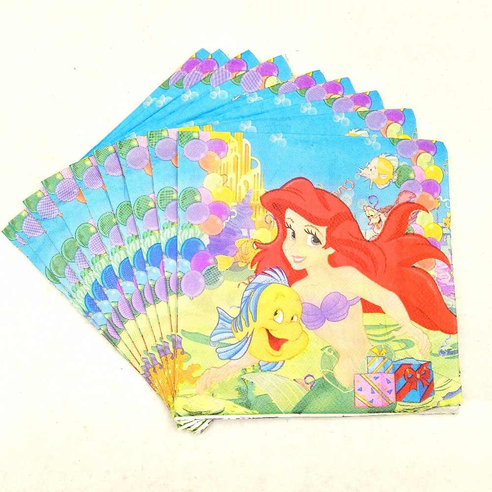 20pcs Little Mermaid Baby Paper Napkin Party For Kids Happy Birthday Decoration Party Supplies Theme Party Favors