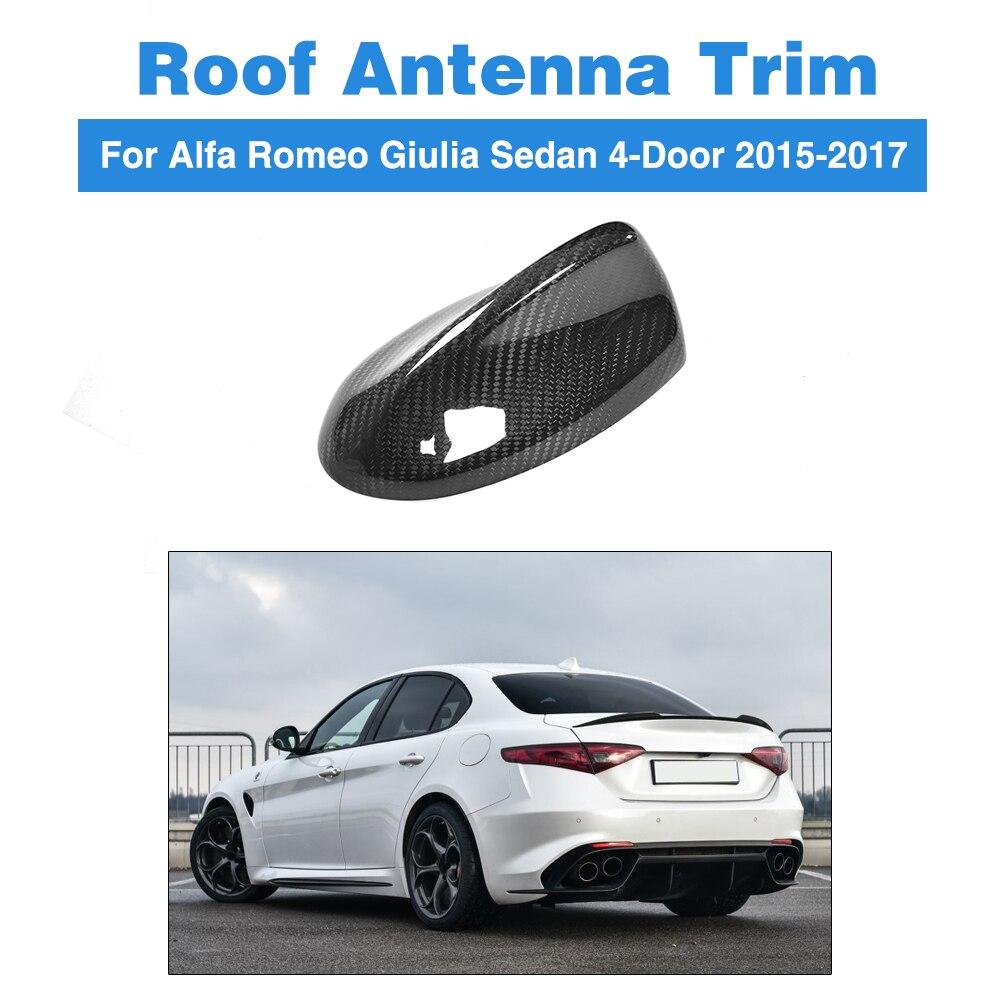 Fibre de carbone voiture toit antenne Spoiler voiture autocollant requin aileron aérien pour Alfa Romeo Giulia 4 portes 2015-2017