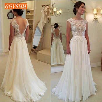 Stylish Boho White Wedding Dresses Long 2020 Ivory Wedding Gowns For Women Scoop Lace Backless A Line Cheap Formal Bride Dress