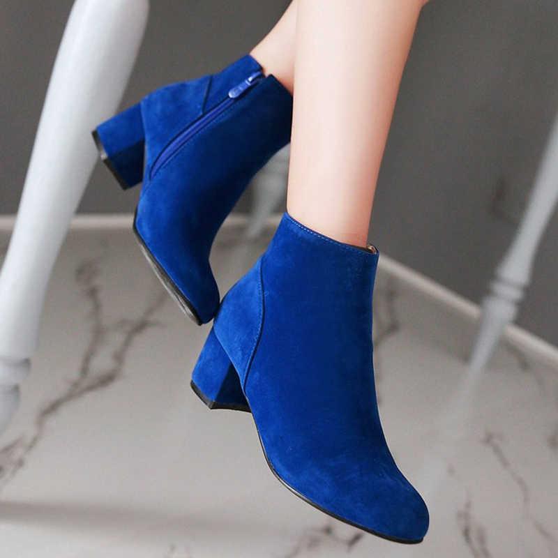 Artı Boyutu 34-43 Katı Kadın Ayakkabı yarım çizmeler Rahat Sonbahar Kış Çizmeler Kalın Topuklu moda ayakkabılar Kadın