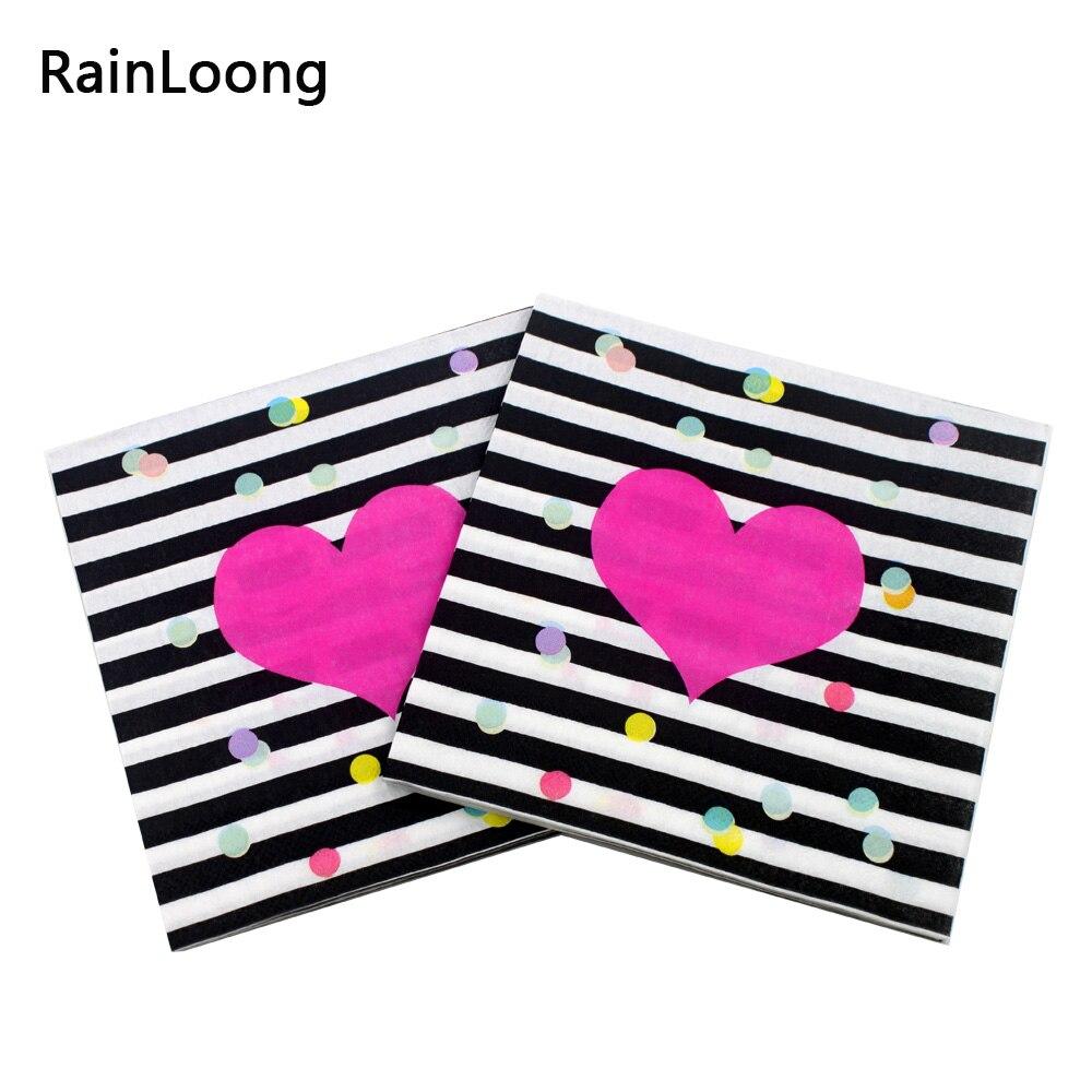 [RainLoong] 결혼 종이 냅킨 사랑 인쇄 음료 파티 조직 냅킨 장식 Serviettes 33 * 33cm 1pack / lot