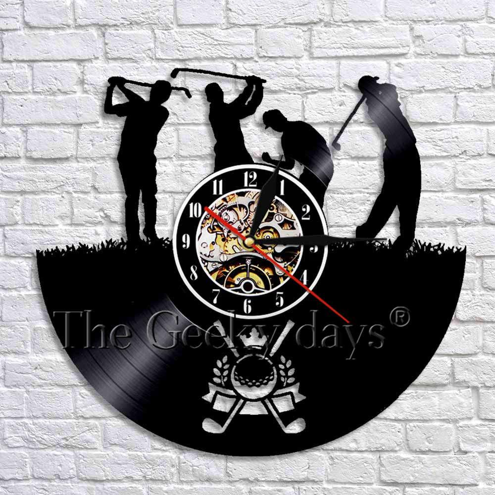 Golf Club Wall Clock Art Decor Unique Golf Sport Decorative Vinyl Record Wall Clock Watches Modern Design Original Gift