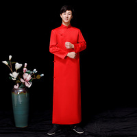 Red Groomsman Chinese Wedding Cheongsam Traditional Style groom best man Evening Dress Long Gown Qipao Mens Size S XXL
