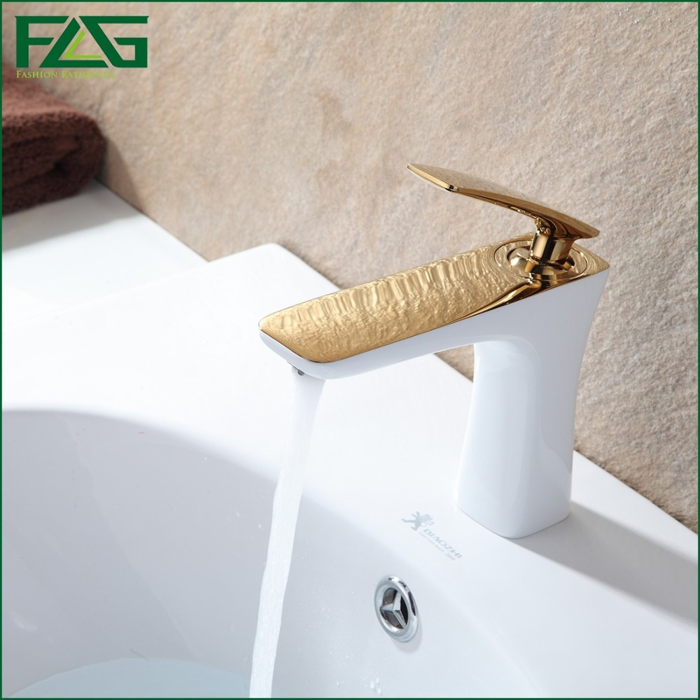 FLG European Nordic Retro Basin Faucet Golden & Grilled White Painted Deck Mounted Washroom Tap Single Lever Sink Mixer Tap M256 the ivory white european super suction wall mounted gate unique smoke door