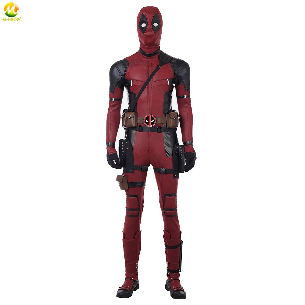 Deadpool Cosplay Costume Halloween costumes Deadpool 2 Wade Wilson Cosplay Costume Superhero Deadpool leather jumpsuit boots
