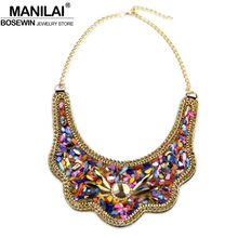 MANILAI Women Collar Choker Necklace Fashion Multicolor Resin Glass Beads Statement Necklaces & Pendants Bohemia Jewelry Colar