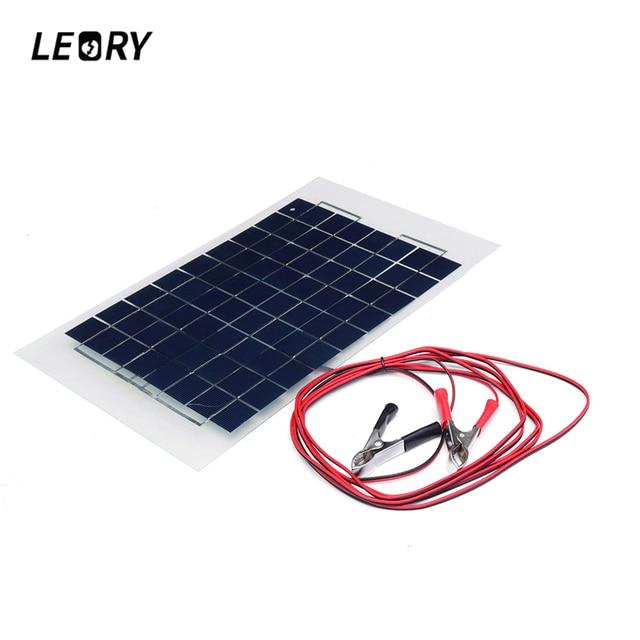 LEORY 12 V 10 W Panel Solar células policristalinas DIY módulo Solar resina epoxi con diodo de Bloque 2 Clips de cocodrilo cable de 4 m