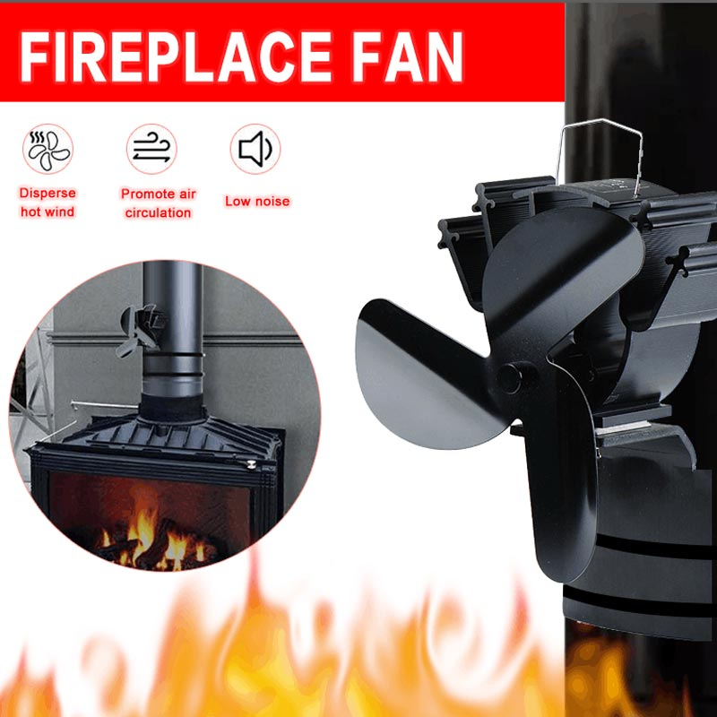 Three Leaf Chimney Fireplace Fan Household Heat Energy Efficient Distribution Winter Heating Accessories Fireplace Fan