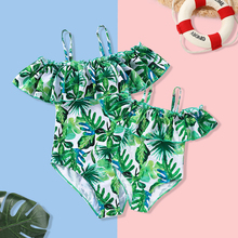 Tank Leaf Mother Daughter Swimsuits Family Look Mommy and Me Clothes Ruffled Swimwear Bathing Suits Mom Girls Matching Dresses