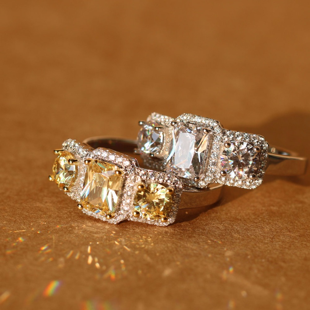 Bagues de luxe en argent Sterling 925 pour femmes zircon cubique clair plaqué or blanc trois pierres grande Bague de mariage Anel Bague Femme