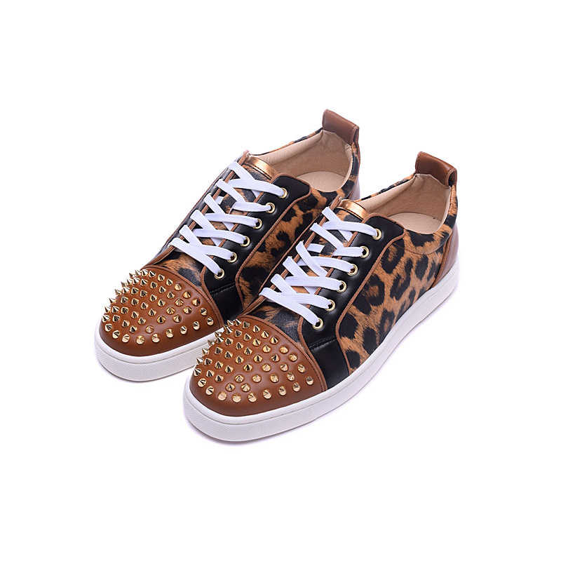 hot sale online bfce3 02b5d Low Top Loafers Men Brand Designer Shoes Mens Red Bottom Sneakers Luxury  Spikes Leopard Casual Shoes Men Large Size 46