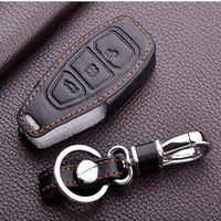 Leather Keychain Keyring Cover Case Holder For Ford 2013 2014 Focus 3 Fiesta Kuga Ecosport Fusion