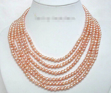 Genuine 6mm 16″ 6row natural pink freshwater pearls necklace 925SS j1306 Factory Wholesale price Women Giftword Jewelry