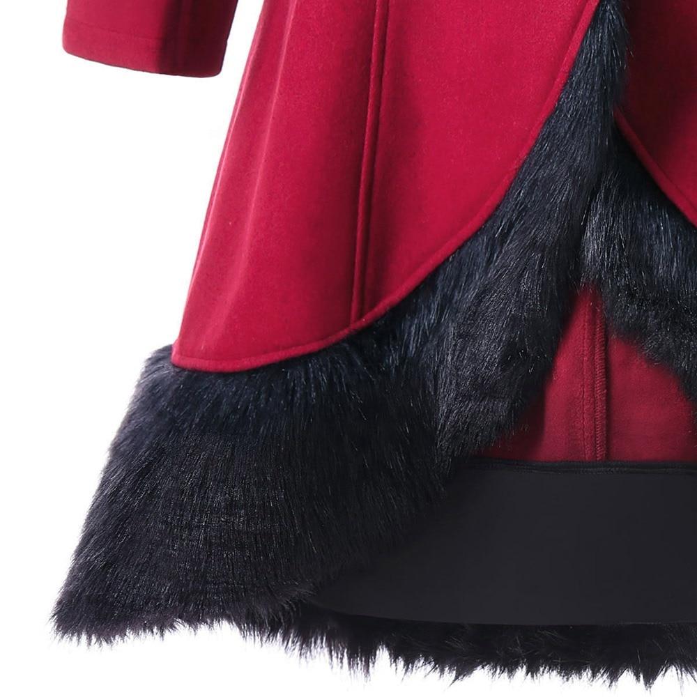 Cappotti Con Imitazione Cappotto Up Della Di Inverno Natale Caldo Cappuccio Borgogna Donna Vintage Lace Del Lana Casual Donne Coniglio Moda Lungo Pelliccia awwqUgB