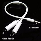 3.5 mm Earphone Headphone Y Splitter Cable Adapter Jack Plug 1 Male To 2 Double Female Cable