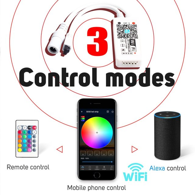 DC5-28V Mini LED WiFi Light 5050 RGB RGBW Strip Bluetooth LED Controller Amazon Alexa Google Phone Voice IOS/Android APP Control 1