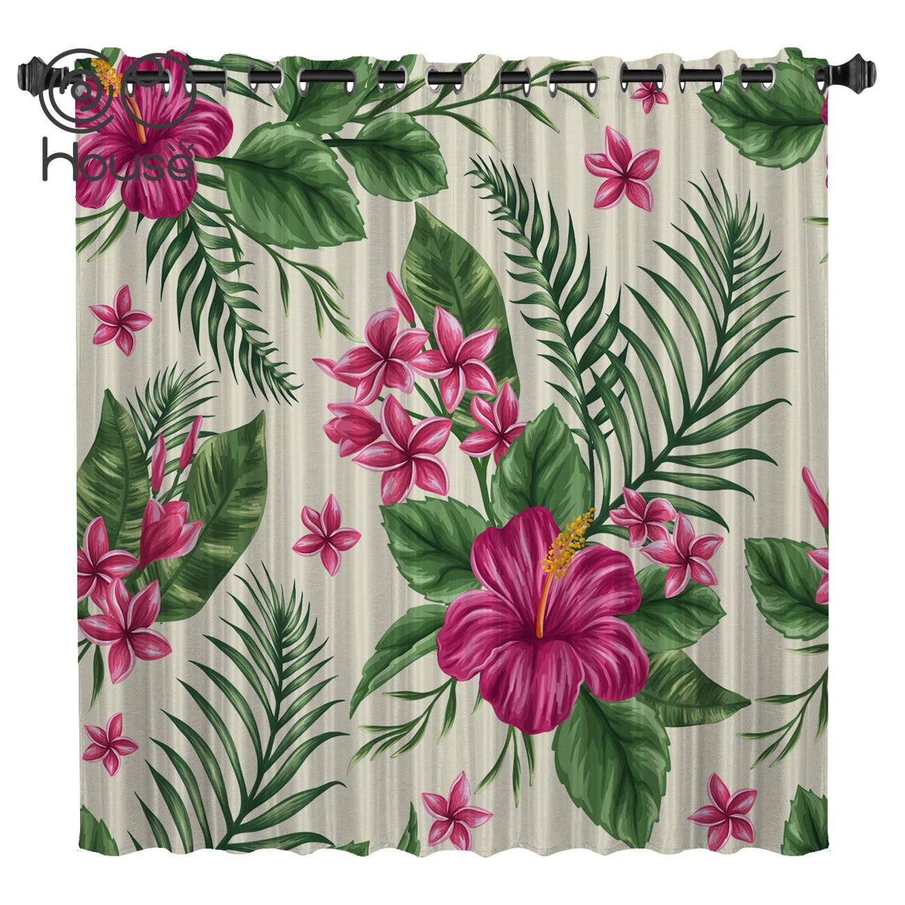 COCOHouse Tropical Flowers Window Treatments Curtains Valance Window Blinds Bathroom Blackout Outdoor Kitchen Fabric Floral Kids