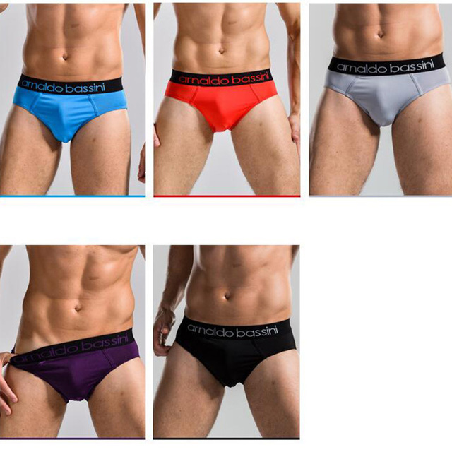 5 Colors Super Quality Brand Panties Mens Underpants Flexible Slips Briefs Solid Arnaldo Bassini Underwear Men Black Blue