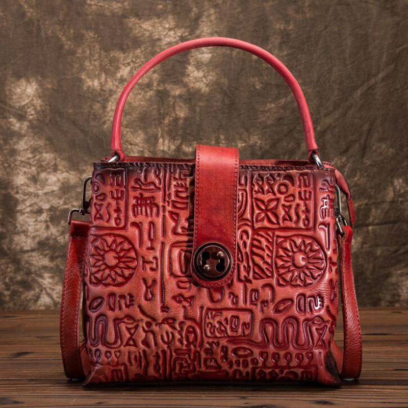 Original 100 Genuine Leather Bag Retro Cowhide Women Handbags Embossing Vintage Manual Painting Crossbody Shoulder Flap