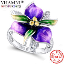 YHAMNI 100% 925 Solid Silver Fine Flower Rings Yellow Cubic Zirconia Rings Fashion Wedding Jewelry For Women YKYRA0601(China)
