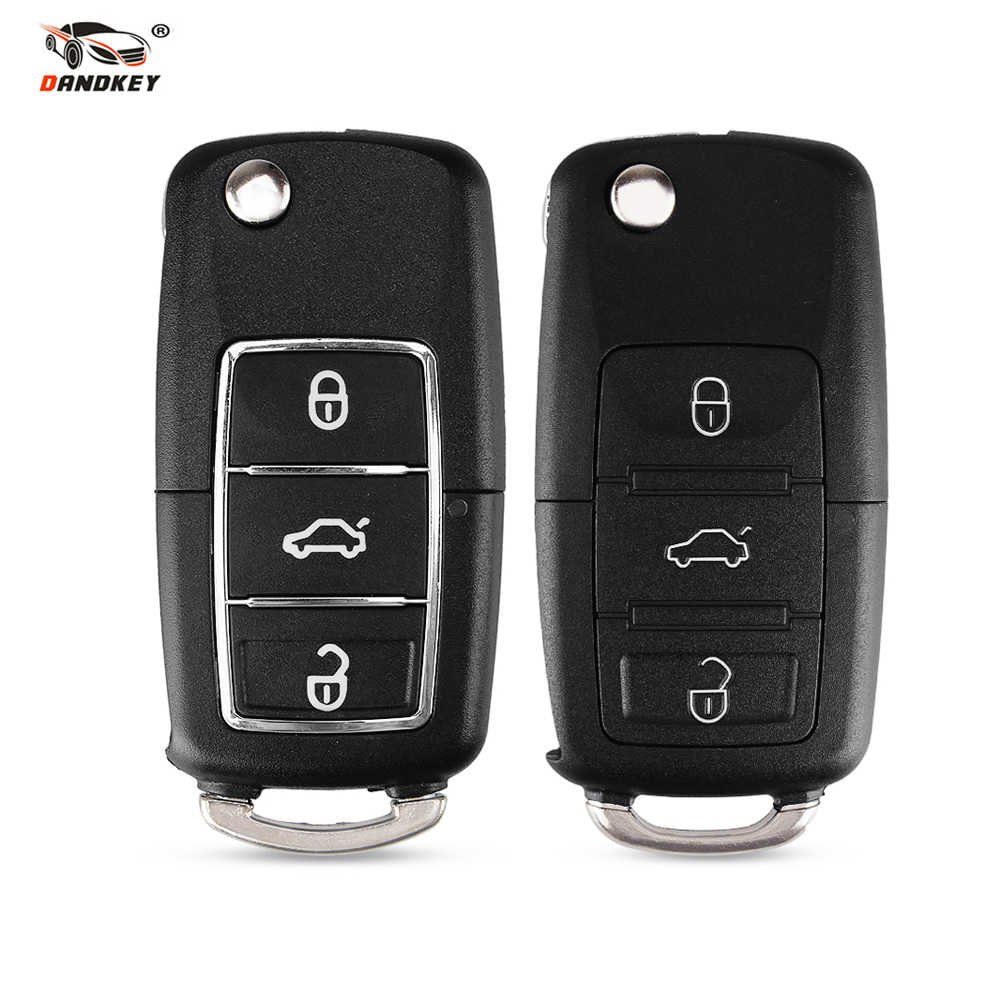 DANDKEY Flip 3 Buttons Remote Key Case Shell For VW VOLKSWAGEN GOLF PASSAT Tiguan Polo D25 With/Without Blade With Groove