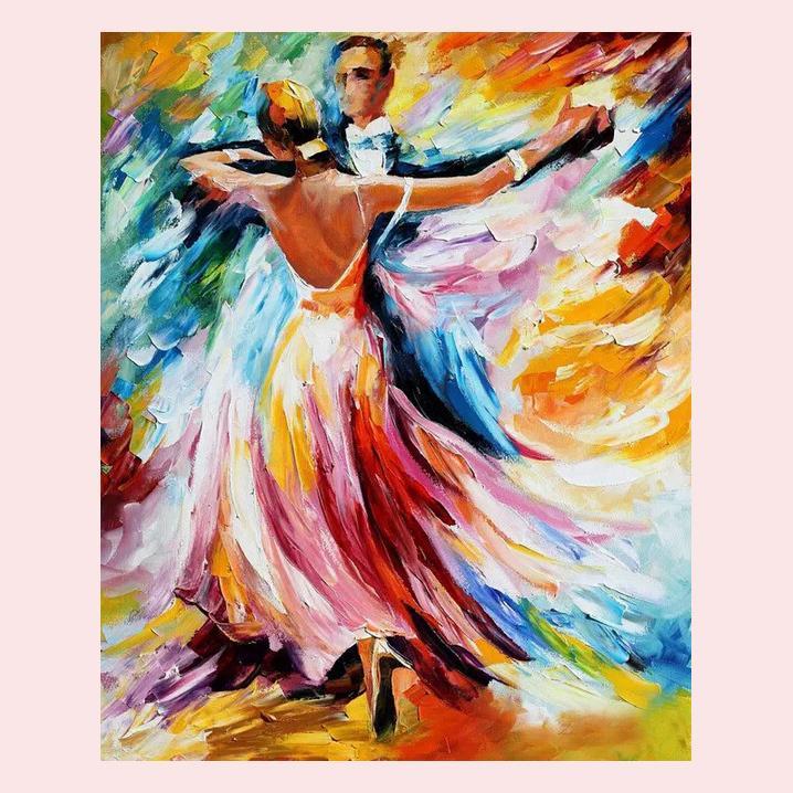 100% hecho a mano de alta calidad Arte de la pared moderno Ballet bailarines paleta cuchillo pintura al óleo en lienzo decoración del hogar cuadros de arte de la pared-in Pintura y caligrafía from Hogar y Mascotas    1