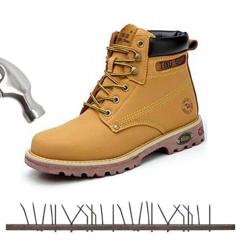 Men Genuine Leather Steel Toe Cap Work Boot Autumn Winte Men Outdoor Anti-static Puncture Proof Safety Shoes Protection Footwear