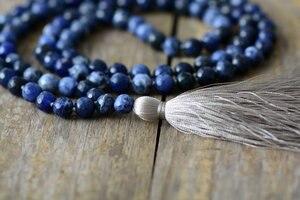 Image 3 - Collar de meditación con borla suave de sodalita faceteadas naturales de 8MM, collar de mujer con 108 cuentas, Mala