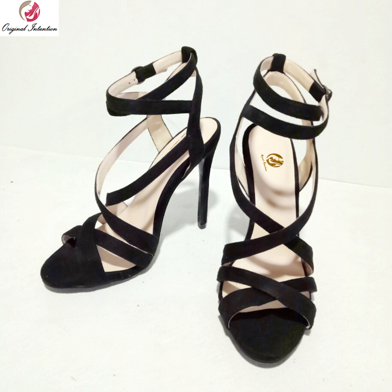 original intention super sexy women sandals fashion open toe thin high heels fashion black red shoes woman plus us size 4 15 Original Intention Super Sexy Women Sandals Open Toe Thin Heels Sandals Fashion Black Shoes Woman Plus US Size 4-15