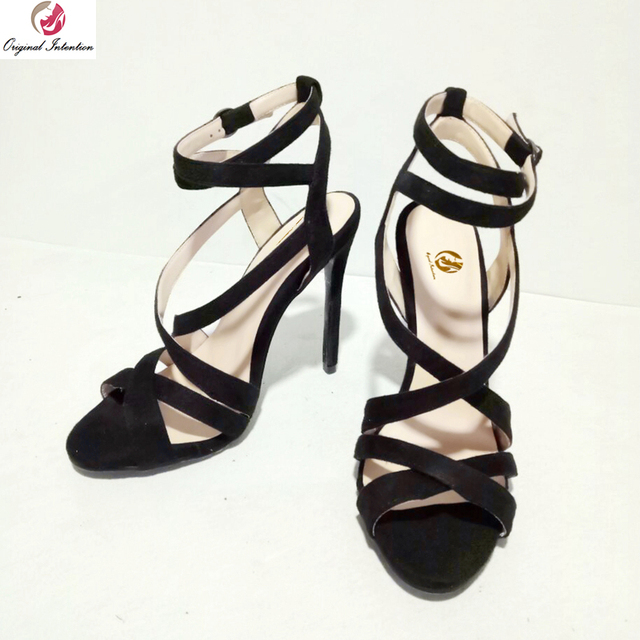8d27442b75596b Original Intention Super Sexy Women Sandals Open Toe Thin Heels Sandals  Fashion Black Shoes Woman Plus US Size 4-15