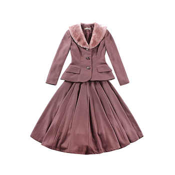 le palais vintage 2018FW 50s Classic Slim Draping Coat and High Rise Ball Gown Skirt Eco-friendy Faux Fur Thicken Fabric - DISCOUNT ITEM  0% OFF All Category