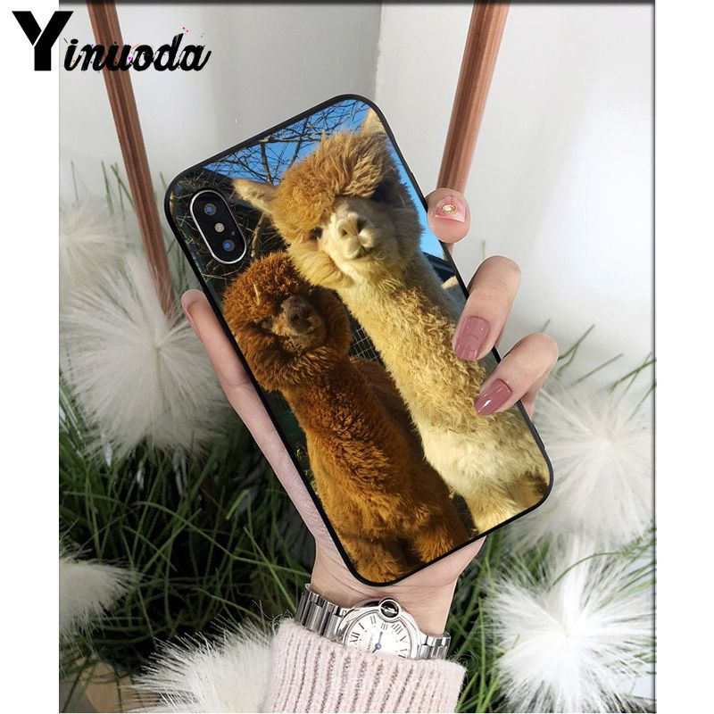 Yinuoda Lama Llama Alpacas Animal Smart Cover Black Soft Shell Phone Case for iPhone X XS MAX 6 6S 7 7plus 8 8Plus 5 5S XR in Half wrapped Cases from Cellphones Telecommunications