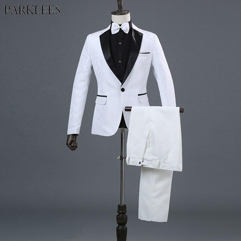 jacke + Pants + Blet + Krawatte Herren Weiß Elegante Hochzeit Bräutigam 4 Stück Smoking Anzüge Marke Dünne Leiter Magier Zeigen Terno Masculino