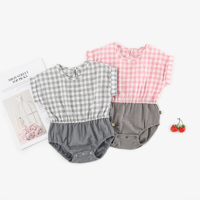 2019 Best Selling Summer Girls Patchwork Plaid Romper Short Sleeve Fashion Girls Jumpsuit 0-2 Years
