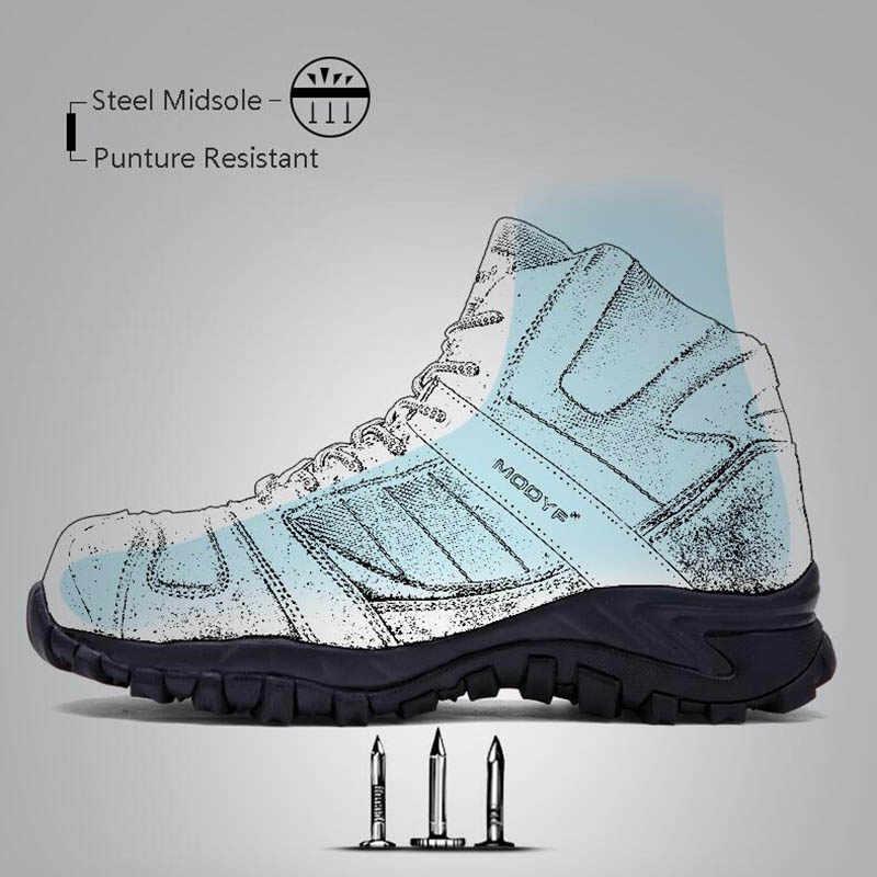 MODYF Erkek iş çizmeleri Çelik Ayak Endüstriyel Güvenlik Ayakkabıları Anti-smashing Anti-delinme Kauçuk kaymaz Koruyucu Ayakkabı