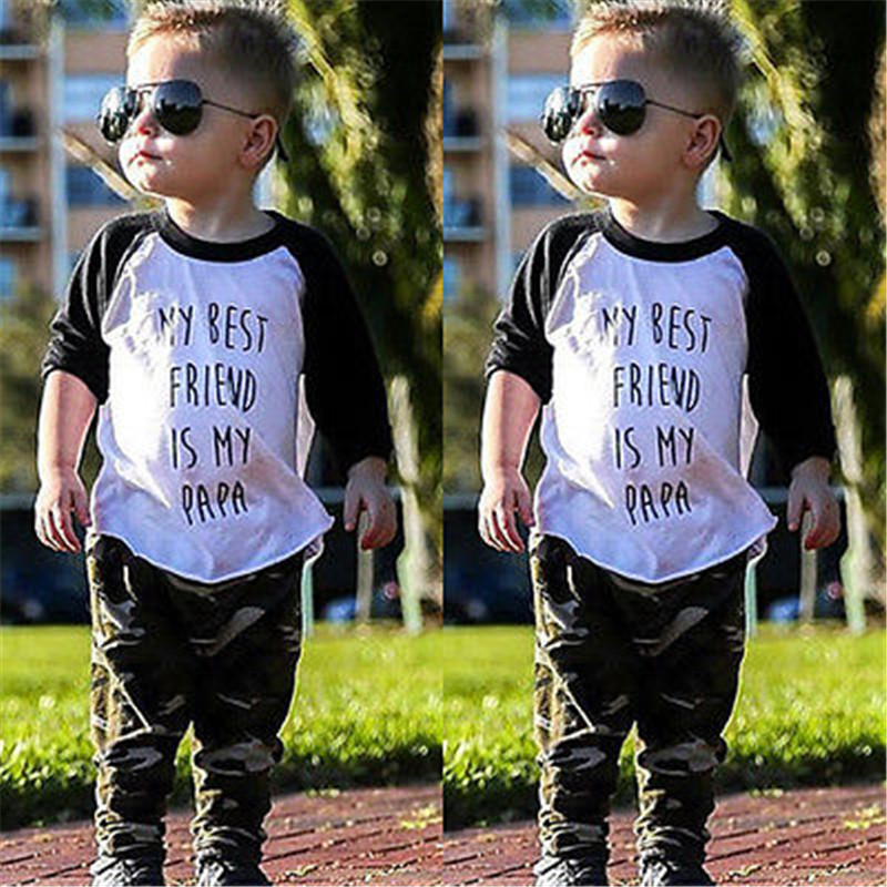 Newborn Baby Boy Girl Casual Long Sleeve Letter Print My Best Friend is my PapaT-shirt Tops+Pants Camouflage Outfits Clothes Set image